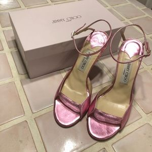Jimmy Choo Mettalic Pink ankle Strap heels